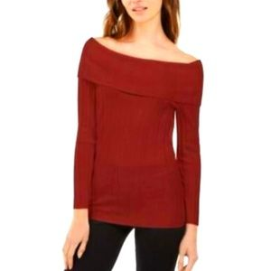 INC off the shoulder ribbed long sleeve sweater